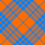 Clan cameron tartan diagonal seamless pattern orange and blue Royalty Free Stock Image