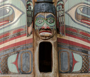 Clan House Door. Ketchikan, AK, USA - May 24, 2016: Native American Totems and Clan Houses located at Totem Bight State Historic Site royalty free stock photo