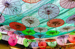 Clan Jetties in Penang, Malaysia. Decorative umbrellas in the Clan Jetties in Penang, Malaysia Stock Photography