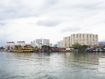 Clan jetties and skyline Penang. Clan jetties and skyline, Penang, UNESCO Heritage site, Malaysia Royalty Free Stock Photos