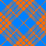 Clan tartan diagonal seamless pattern orange and blue Stock Images