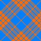 Clan tartan diagonal seamless pattern orange and blue Stock Images