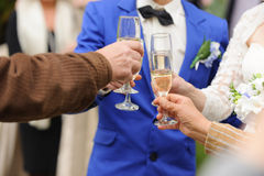 Clanging Glasses at Wedding Party Stock Images