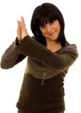 Clap. Beautiful young woman clapping hands white isolate Royalty Free Stock Photo
