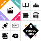 Clap board computer symbol. Clap board Icon and Set Perfect Back to School pictogram. Contains such Icons as Schoolbook, School  Building, School Bus, Textbooks Stock Photos