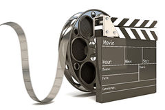 Clap Board with Film Reel. Illustration of clap board with film reel Royalty Free Stock Photos