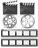 Clap board and Film Reel Vectors. Set of Clapper Board, Movie Reel and Wheel Roll Vector Icons for Business and Web Stock Images