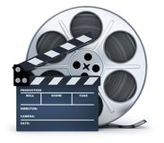 Clap-board and film spool on white background. 3d illustration Stock Photo