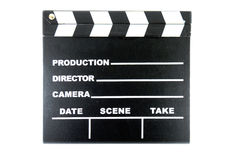 Clap board on white background. Black clap board on white background Stock Photos