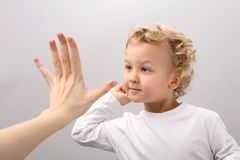 Clap hands. Child and adult clap hands Stock Photos