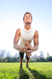 Clap push ups fitness man in Central Park New York Royalty Free Stock Photos