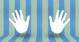 Clap sign on blue pastale wall wood. Use as background royalty free illustration