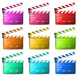 Clapboard. Color clapboard isolated on white Royalty Free Stock Photos