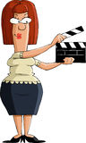 Clapboard. Cartoon girl with a clapboard, vector Royalty Free Stock Images