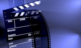 Clapboard. 3d image of a clapboard on blue background Stock Photo