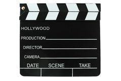 Clapboard. Directors clapboard isolated on a white background Stock Images