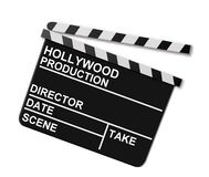 Clapboard. Black and white hinged clapboard used in film production, isolated on a white background Stock Photography