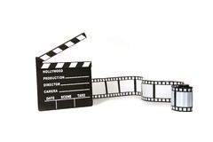 Clapboard And Film Strip On White Background Stock Image