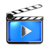 Clapboard with Blue Screen. Media Player Concept. Stock Photo