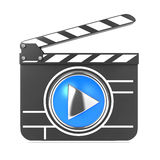 Clapboard with Blue Screen. Media Player Concept. Clapboard Icon with Blue Screen. Media Player Concept Stock Photography