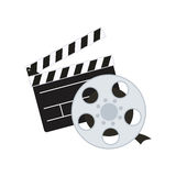 Clapboard cinema movie design. Clapboard film reel cinema movie entertainment show icon. Flat and Isolated design. Vector illustration Stock Image
