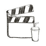 Clapboard cinema movie design. Clapboard soda film cinema movie entertainment show icon. Sketch and Isolated design. Vector illustration Stock Images
