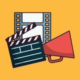 Cinema related icons. Clapboard and cinema related icons over yellow background colorful design vector illustration Royalty Free Stock Photo