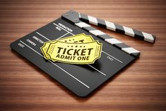 Clapboard and cinema tickets standing on wooden surface. 3D illustration.  vector illustration