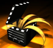 Clapboard & Film. Open box in format of clapboard with film inside Stock Image