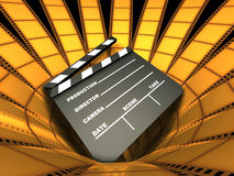Clapboard & Film. Clapboard on center of many film around Stock Images