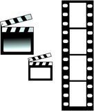 Clapboard and film Royalty Free Stock Photos