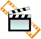 Clapboard and film. On white background Stock Image