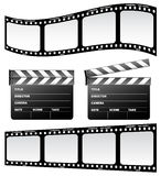 Clapboard and film. On the white background Royalty Free Stock Photo