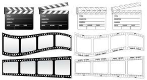 Clapboard and film Royalty Free Stock Image