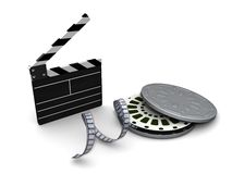 Clapboard Film And Reel Case Royalty Free Stock Photo