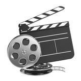 Clapboard and Film Reel with Film. Clapboard and Film Reel, Setting Next to Each Other. On white Background Royalty Free Stock Image
