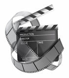 Clapboard and film strip. On white Stock Photos