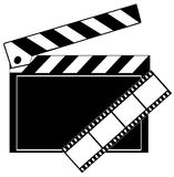 Clapboard and film strip. Movie film strip and clapboard in black and white - vector Royalty Free Stock Photo