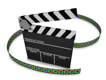 Clapboard. And film strip on white background Royalty Free Stock Photos