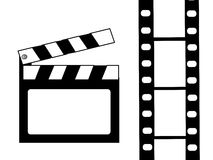 Clapboard and film vector. On white Stock Photography