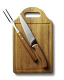 Clapboard food with fork and knife Stock Image