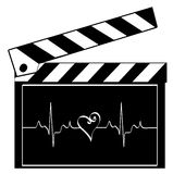 Clapboard with heart rhythm Royalty Free Stock Image
