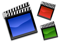 Clapboard icon. Colorful Clapboard icon on white Royalty Free Stock Images