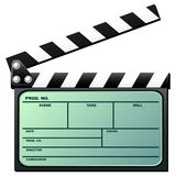 Clapboard with lcd. Opened digital movie clapboard with lcd over white background Royalty Free Stock Image