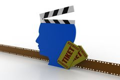 Clapboard with man head. In white background Royalty Free Stock Images