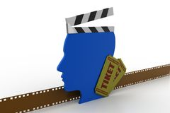 Clapboard with man head. In white background Royalty Free Stock Photos