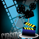 Clapboard and movie projector. Abstract colorful background with clapboard filmstrips and movie projector. Cinema theme Stock Photo