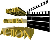 Clapboard for movies. Clapboard in 3d with action call in gold Stock Photos