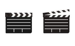 Clapboard open and closed. Shooting clapboard open and closed vector graphic artwork design Stock Photography