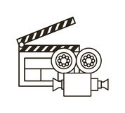 Clapboard and video recorder. Video recorder and clapboard over white background.  illustration Stock Image